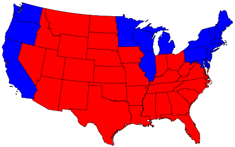 red and blue states, 2004